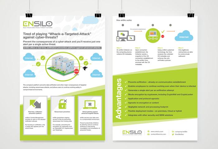 עיצוב גרפי - עיצוב פלייר לחברת הייטק ensilo