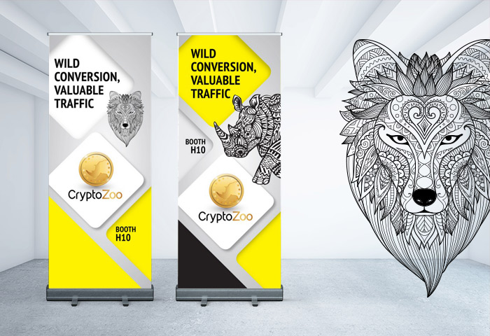 עיצוב גרפי לתערוכה - רולאפ עבור CryptoZoo