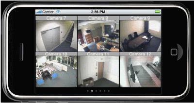 צפייה במצלמות האבטחה במערכת GeoVision באייפון