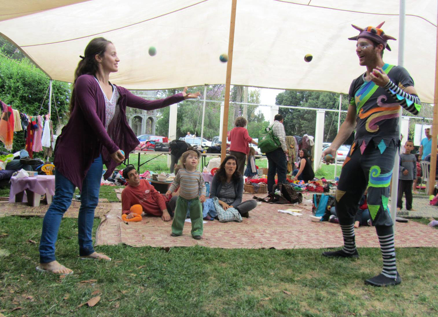 Juggling at circus event