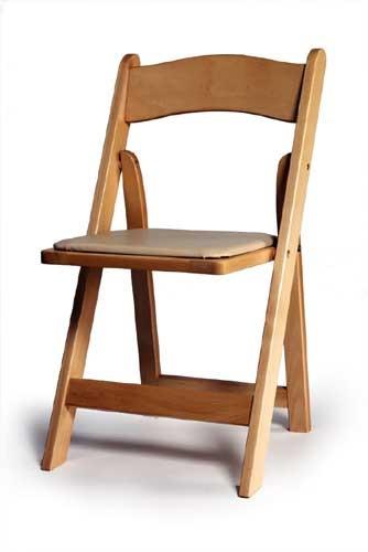 כסא עץ  מתקפל טבעי -  Wood padded folding chair natural