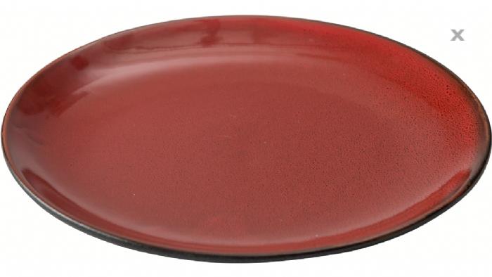 """צלחת צים פורצלן אדום שחור 25 ס""""מ"""