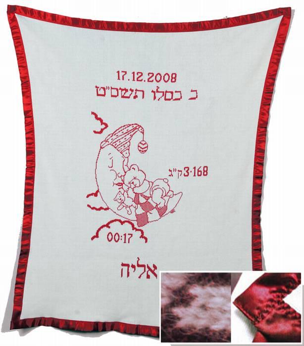 שובר מתנה - שמיכה תינוקות מאנגורה וצמר כבשים עם סרט גימור של סטן