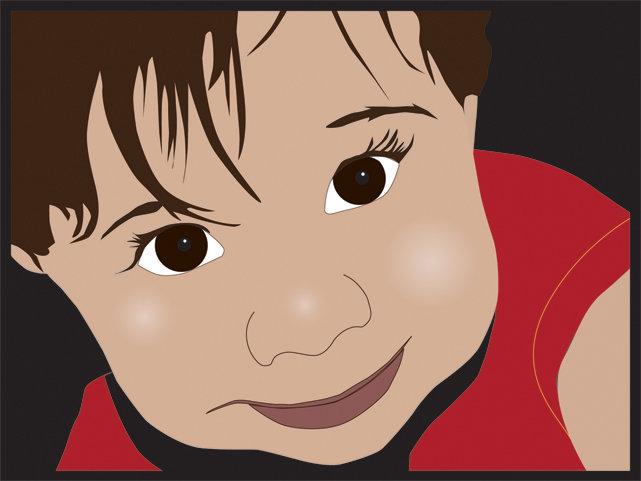 איור פנים של ילד בגרפיקה ועיצוב