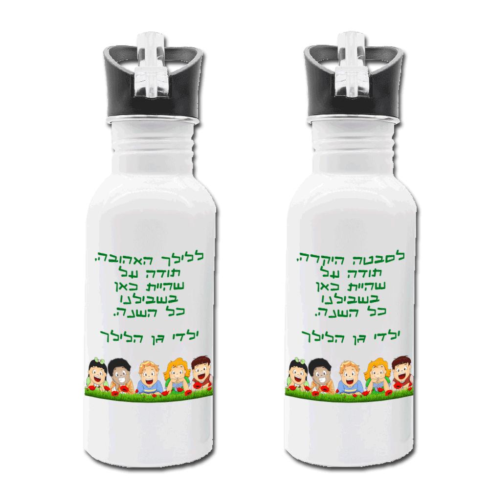 בקבוק אקולוגי מנירוסטה, מתנה לגננת ולסייעת, על הדש