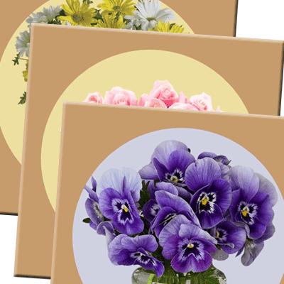 תחתית מעץ לכלי חם, דגם סדרת פרחים