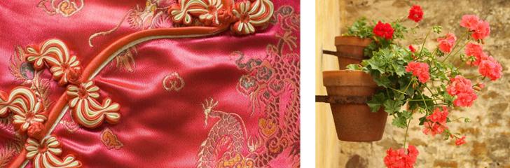 מוטיבים סיניים ופרחים אדומים