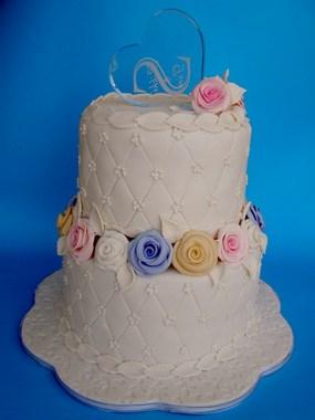עוגת חתונה 2 קומות בתוספת לב מזכוכית