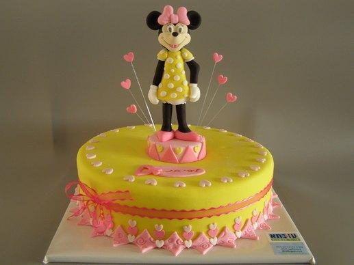 עוגת מיני מאוס גוונים צהוב/ורוד
