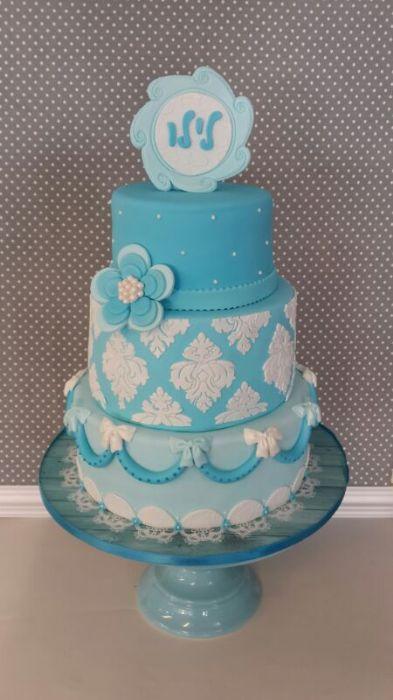 עוגת בת מצווה 3 קומות גווני תכלת