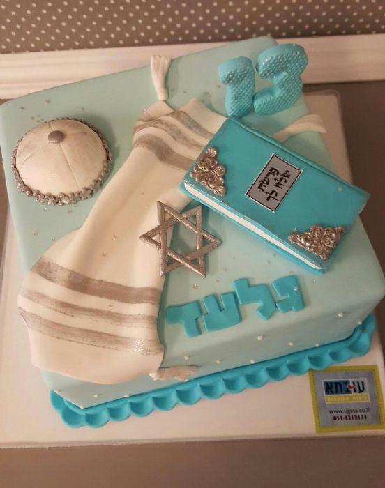 עוגת בר מצווה מסורתית מרובעת