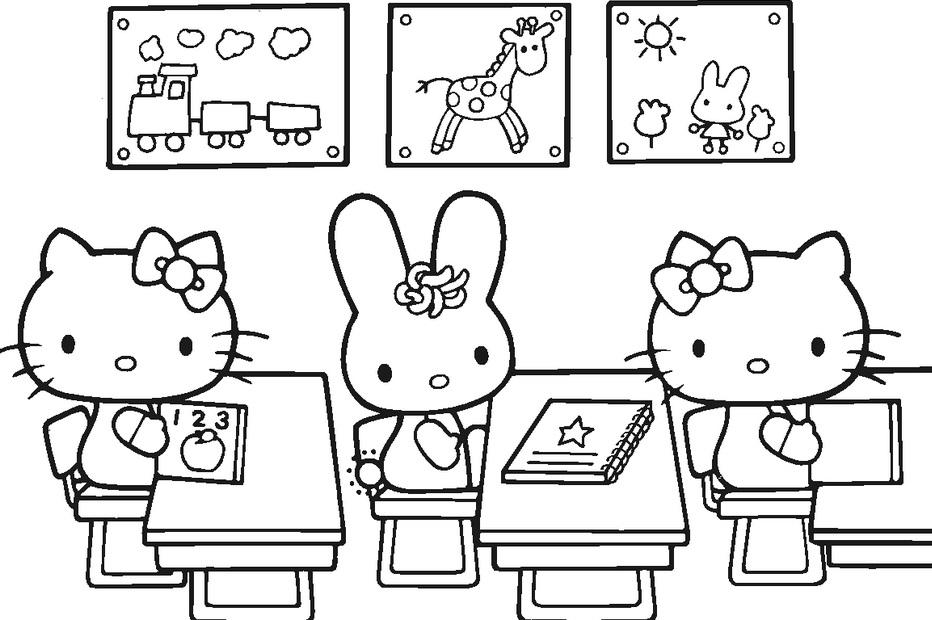 דף צביעה הלו קיטי בכיתה