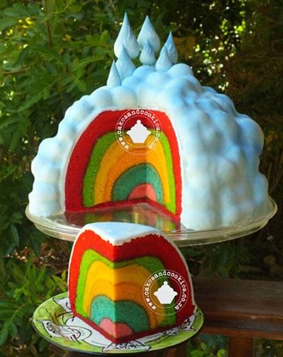 עוגת צבעי הקשת בפנים