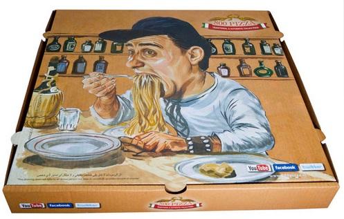 קופסת פיצה עם ציור
