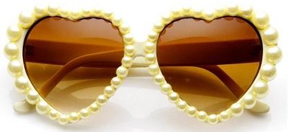 משקפי שמש פנינים בצורת לב