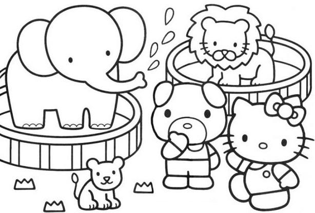 דף צביעה הלו קיטי בגן חיות