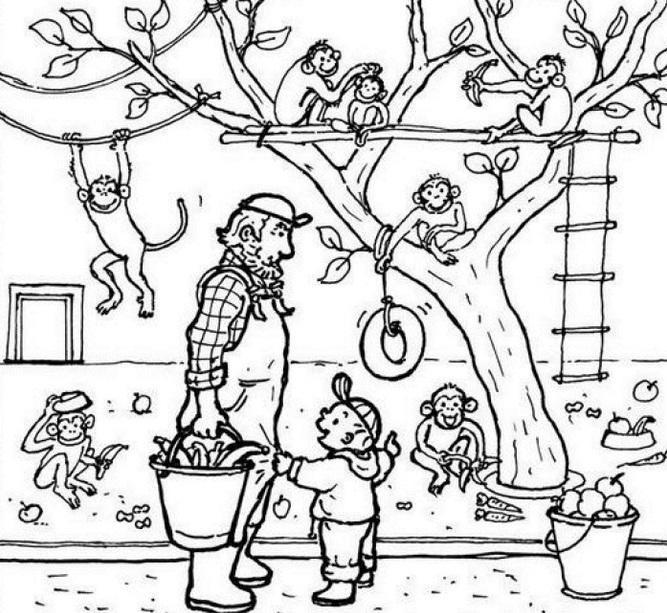 דפי צביעה גן חיות אבא וילד מאכילים קופים