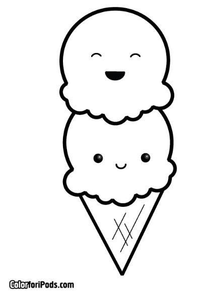דף צביעה גלידה מחייכת