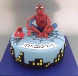 עוגת ספיידרמן לגיל 4 עם קורי עכביש וצללי העיר ניו-יורק