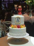 עוגת חתונה שתי קומות עם קומה שניה מרחפת. צבעי הפרחים תואמים לעיצוב השולחנות זוג דובונים חתן וכלה בקריצה הומוריסטית.