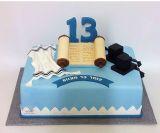 עוגת בר מצווה לעליה לתורה - עם ספר תורה, תפילין, טלית וספרות 13
