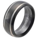 """טבעת טונגסטן לגבר מוברקת עם ציפוי שחור ועיטורי פסים לבנים צדדיים, טבעת עם קצוות מעוגלים 9 מ""""מ."""