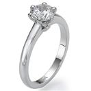 טבעת אירוסין סוליטר בעיצוב חדשני בעלת ראש משובץ ב 6 שיניים.