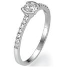 """טבעת אירוסין """"הדר"""" עדינה עדינה וקלילה במיוחד המשובצת ביהלומים צדדיים במשקל של כ 0.12 קרט בצבע G וניקיון SI1 ."""