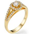 """טבעת אירוסין """"הילו"""" משובצת ב 40 יהלומים במשקל של כ- 0.35 קרט בצבע G וניקיון SI1."""