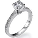 טבעת אירוסין בשיבוץ פווה של 20 יהלומים במשקל של כ-0.22 קרט בצבע F וניקיון VS2.