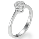 """טבעת אירוסין בעלת מראה עשיר המשובצת ב 7 יהלומים קטנים בסה""""כ של 0.25 קרט בצבע H וניקיון SI2, לטבעת מראה של יהלום 1.25 קרט."""