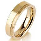 """טבעת לגבר מטיטניום ברוחב 5 מ""""מ בעיצוב מוחלק עם פס מט, הטבעת מצופה בזהב צהוב 14 קראט."""