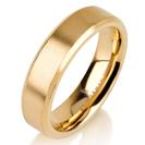 """טבעת לגבר מטיטניום ברוחב 5 מ""""מ עם קצוות משופעים מוחלקים ואמצע בגימור מט, הטבעת מצופה בזהב צהוב 14 קראט."""