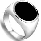טבעת אוניקס לגבר בגימור עגול מושלמת לחריטה על האוניקס,עשויה כסף 925.