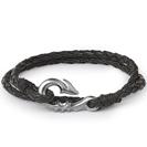 """צמיד עור """"ים"""" מעור אמיתי בצבע שחור וכן כסף 925 מושחר, הצמיד מלפף על היד פעמיים, קולקציית צמידי הים."""