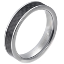 Tungsten wedding bands - delicate polished tungsten ring with black carbon inlay - 5mm