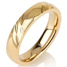 Titanium wedding bands - Delicate 14k gold plate polished titanium ring with engraving - 4mm