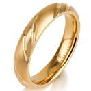 Titanium wedding bands - Rounded delicate 14k gold plated titanium ring with engraved trims brushed finishing - 4mm