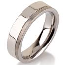 Titanium wedding bands - Polished titanium ring with a brushed finishing side - 5mm