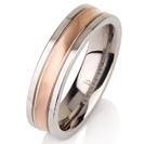 Titanium wedding bands - Brushed 14k rose gold plating rounded titanium ring - 6mm