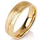 Titanium wedding bands - 14k Gold Plate polished titanium ring with brushed engraved finishing - 6mm