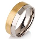 Titanium wedding bands - 14k Gold Plate brushed half titanium ring with half polished design - 7mm