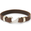 "Mens Bracelets - ""Sea Treasures"" Sterling silver 925 with genuine brown leather bracelet, hook design"