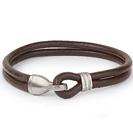 Mens Bracelets - 'Sea Treasures' Sterling silver 925 with genuine brown leather bracelet, polished hook