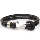Mens Bracelets - 'Sea Treasures' Sterling silver 925 with genuine black leather bracelet, polished hook