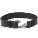 Mens Bracelets - 'Sea Treasures' Sterling silver 925 with genuine wide black leather bracelet, polished hook