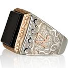 טבעת שם - טבעת שם לגבר -  טבעת ראשי תיבות - טבעת עשויה כסף 925 בשילוב אותיות העשויות מזהב 8K אדום וראש מצופה בזהב אדום אמיתי 14K.