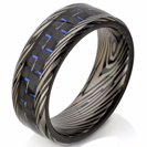 Mokume-Gane Ring - forged ring - Damascus Inlay - mokume band - damascus - Damascus ring - Three color Mokume - mokume bands - mokume gane