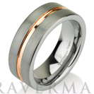 Rose Gold Wedding Band Ring Tungsten Carbide 8mm 14K Tungsten Brushed Ring Man Wedding Band Male Women Comfort Fit Anniversary Engraving
