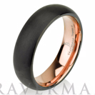 Black Tungsten Ring Rose Gold Wedding Band Ring Tungsten Carbide 6mm 14K Tungsten Ring Man Wedding Band Male Women Domed Comfort Fit